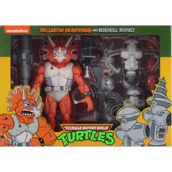 TORTUGAS NINJA - Triceraton Infantryman & Roadkill Rodney - Figure Set